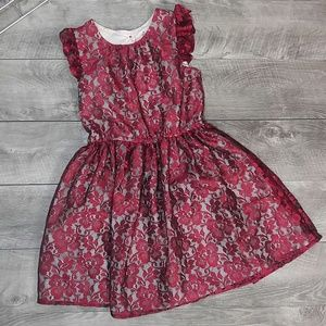 Cherokee red/blk girls M lace overlay dress